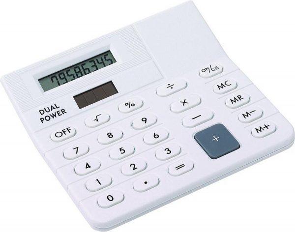 Bureau rekenmachine wit 12 cm - Kantoor calculator - Bureaurekenmachine