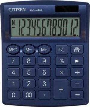 Citizen SDC812NV | Desktop Basisrekenmachine | Dual Power | 12 Cijfer | Auto Switch Off | 124 x 102 x 25 mm | Navy