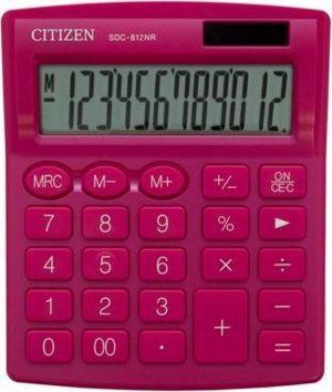 Citizen SDC812PK | Desktop Basisrekenmachine | Dual Power | 12 Cijfer | Auto Switch Off | 124 x 102 x 25 mm | Roze