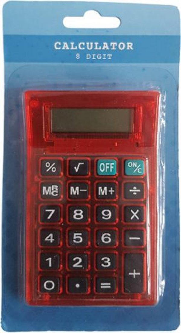 Rekenmachine 8 cijfers - Rood - 11,5 x 7 cm