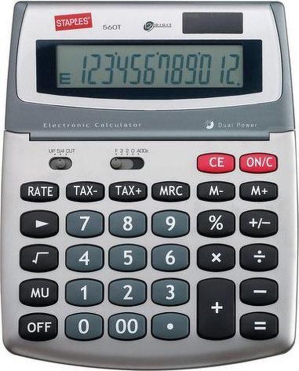 Staples Medium 560 Rekenmachine - Zakrekenmachine met Beschermkap - Wetenschappelijke Rekenmachine voor Kantoor - Calculator met Grote Toetsen - Zilver