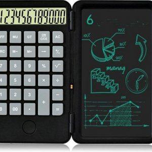 zwart-Bureaurekenmachine-12-Cijferig -Rekenmachine-oplaadbare -LCD Tekentablet 6.5 inch - Schrijfbord-zwart
