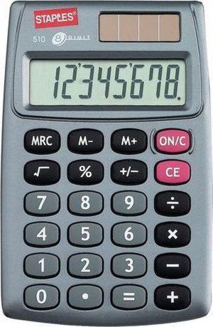 Staples Standard 510 Rekenmachine - Zakrekenmachine met Beschermkap - Wetenschappelijke Rekenmachine voor Kantoor - Calculator met Grote Toetsen - Zilver