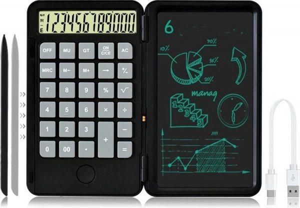 Bureaurekenmachine-12-Cijferig -Rekenmachine-oplaadbare -LCD Tekentablet 6.5 inch - Schrijfbord-zwart